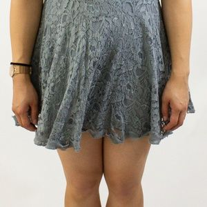 Urban Outfitters Dresses - Urban Outfitter Gray Embroidered/Lace Halter Dress
